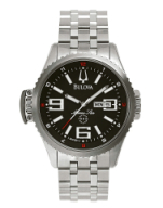 98de5669f MEN'S BULOVA MARINE STAR - 96C001 $325.00. 96C001 Black dial. Luminous  hands and markers. Stainless steel case and bracelet. Fol over buckle.