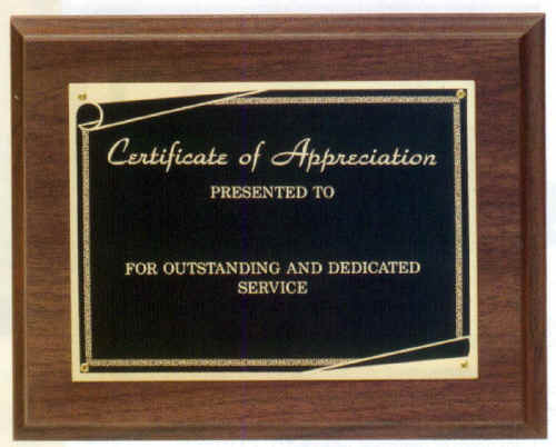 Certificate of appreciation plaque image collections for Plaque of appreciation template